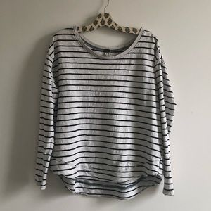 Free People L/S Striped Button Shoulder Detail Top
